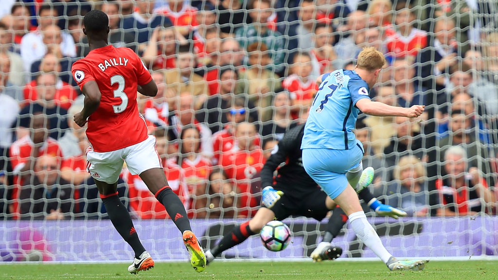 GIVE HIM THE EYES! Kevin De Bruyne whips his foot across the ball to deceive David de Gea and put City ahead