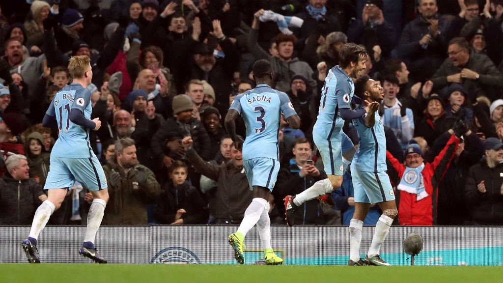 FEELS GOOD! City celebrate Raheem Sterling's goal