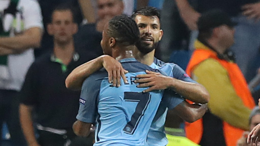 NICE ONE, BUDDY: Raheem Sterling runs over to enjoy the moment with his teammate