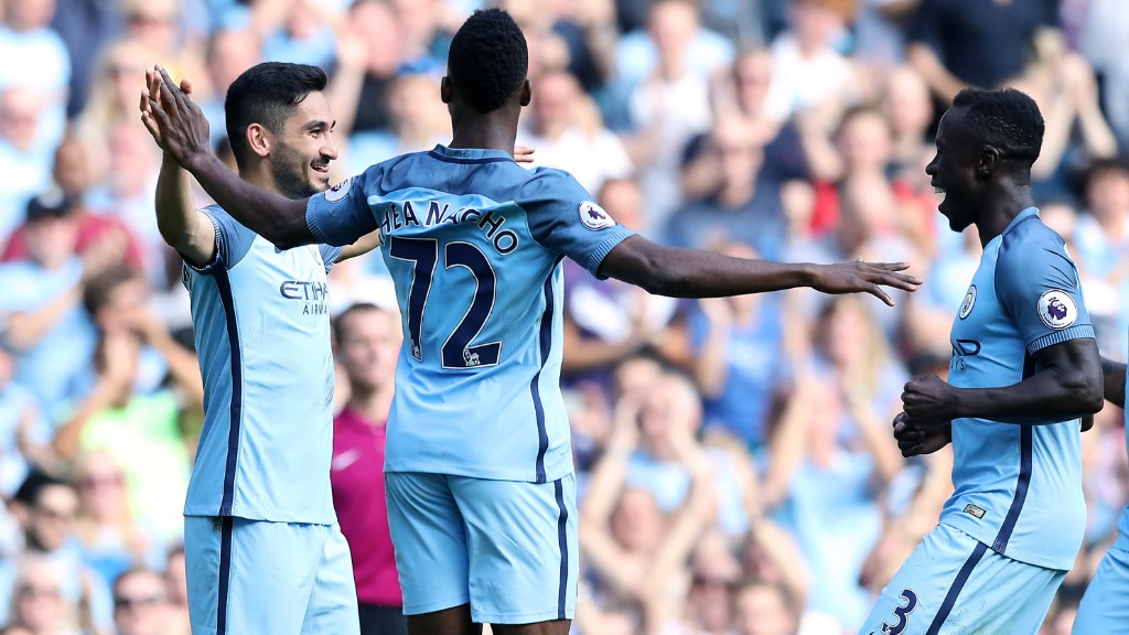 SILKY ILKAY: The German international notched his first goal for the Club as City went 4-0 up in the second half