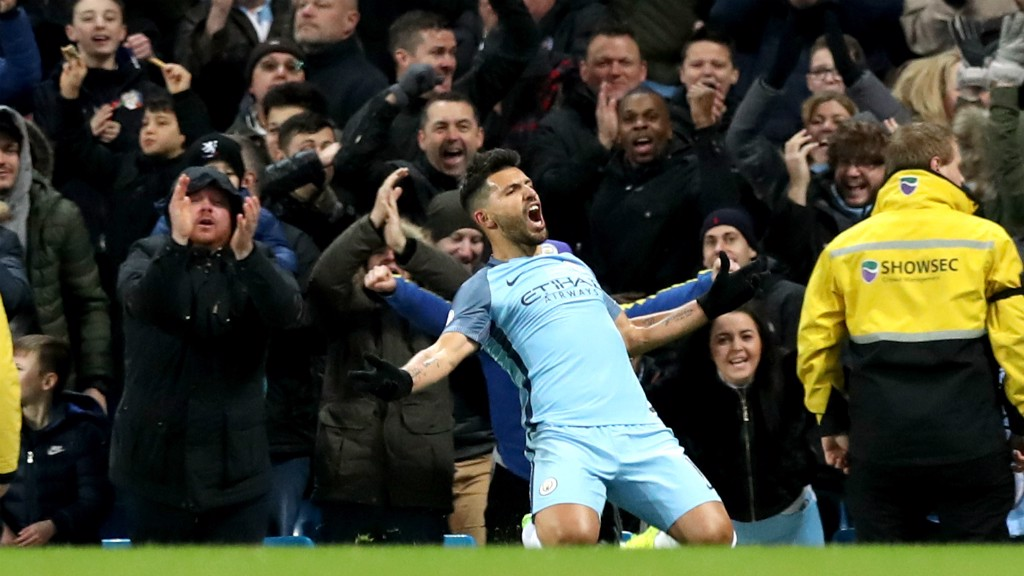 KING KUN: Sergio Aguero wheels away in delight