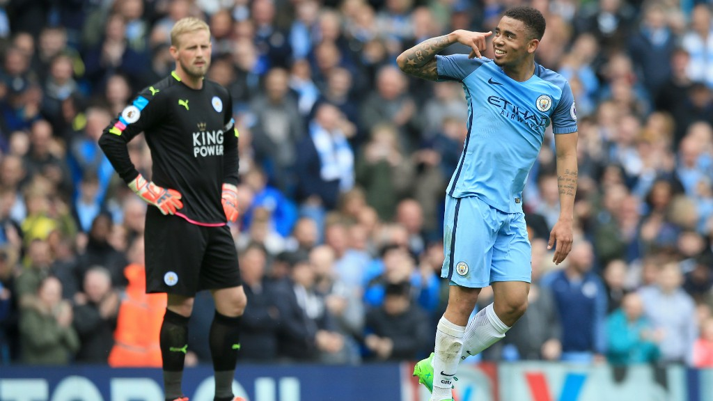 ALO MAE V2: Schmeichel looks on as Gabriel Jesus goes with his usual celebration.