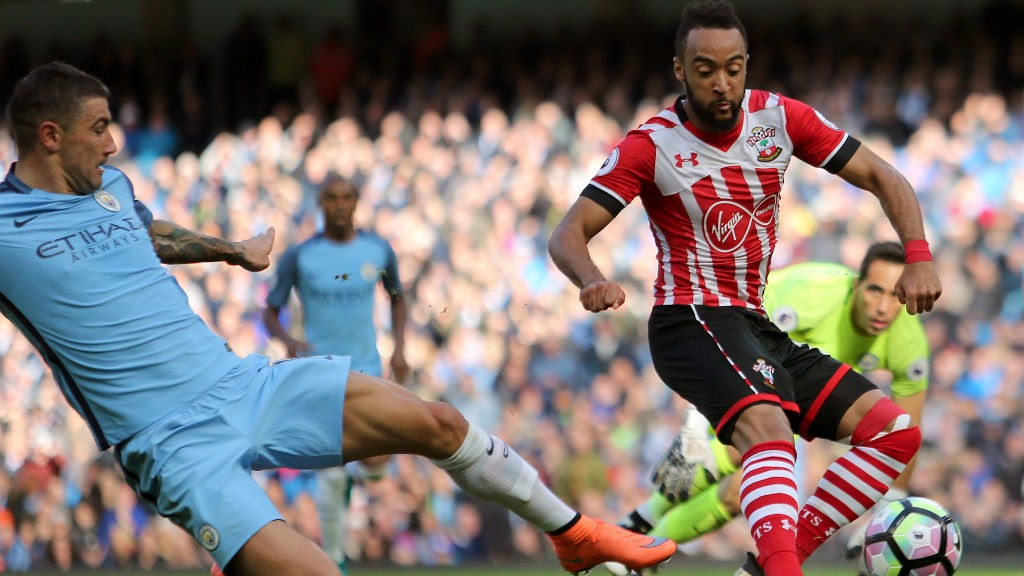 REDMOND: The English winger gives Southampton the lead despite Kolarov's best efforts