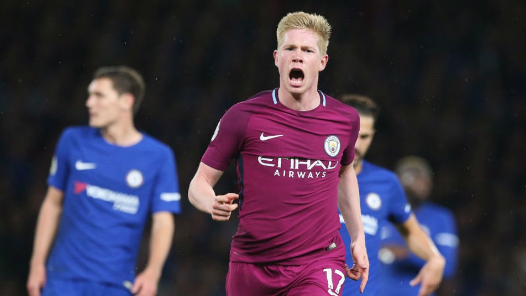 SPECIAL K: De Bruyne celebrates after his wonder goal