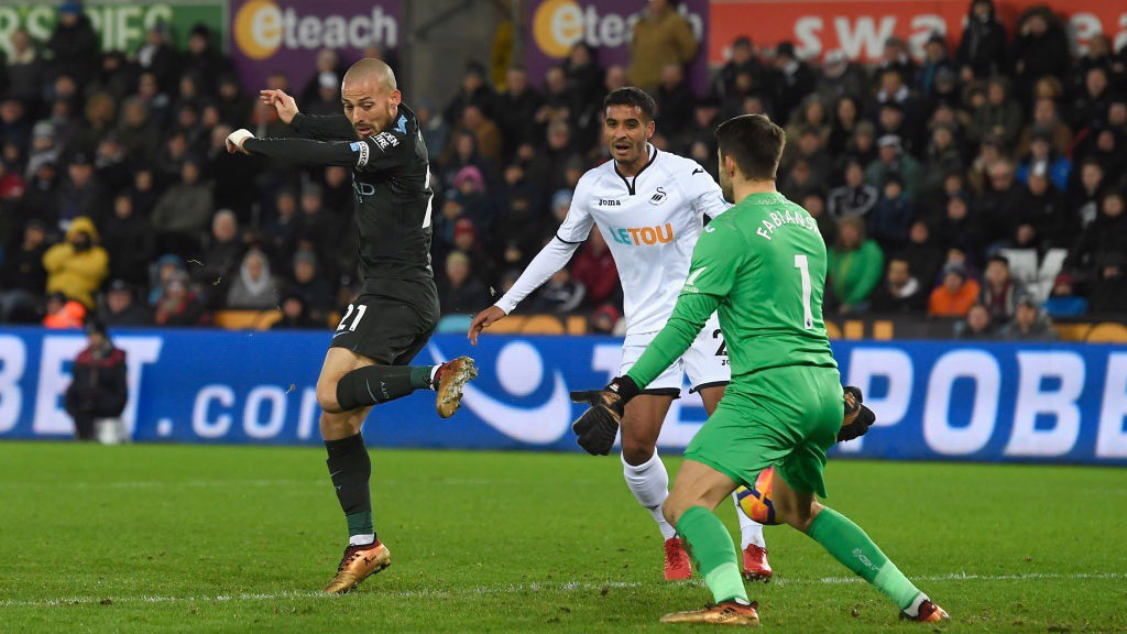 DEADLOCK BROKEN: David Silva's deft touch from Bernardo's cross hands City the lead.