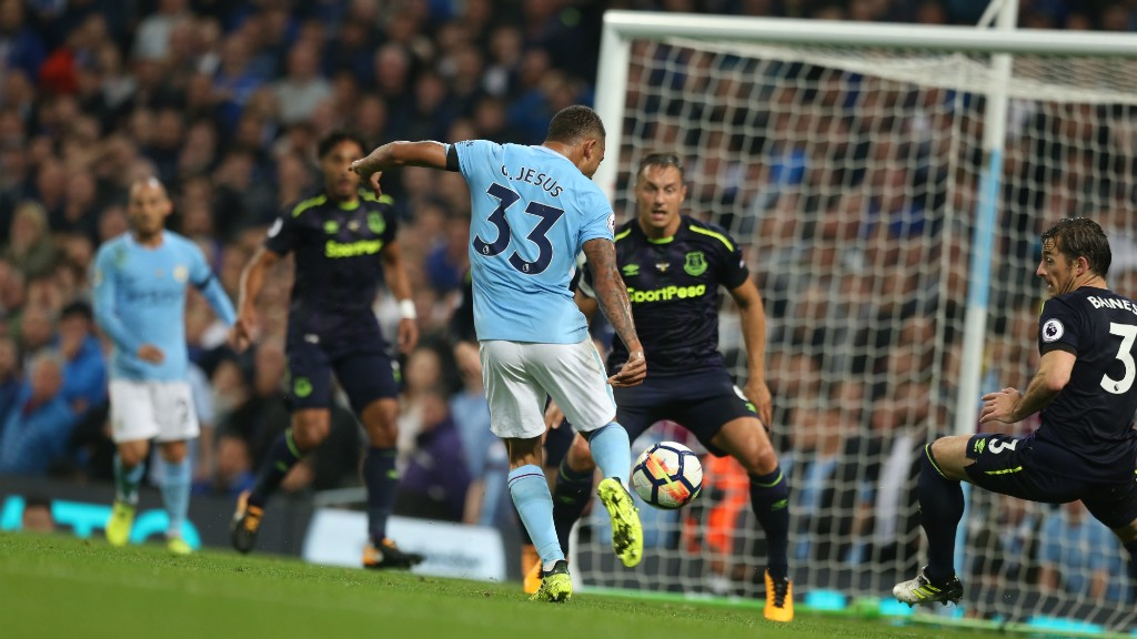 VOLLEY: Gabriel Jesus takes aim.