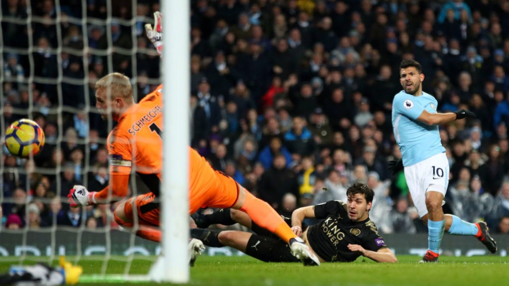 FOCUS: Aguero's determination ensured his strike made it into the net.