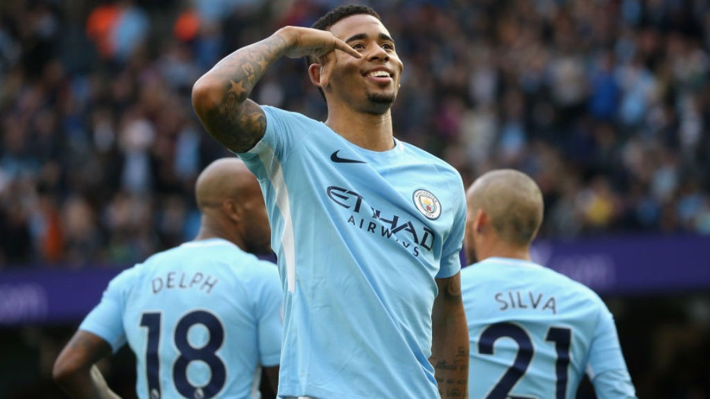 CALLING CARD: Gabriel Jesus celebrates in trademark fashion after notching his second goal