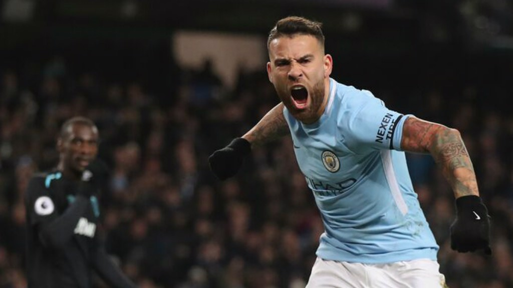 LEVELLER: Nicolas Otamendi celebrates the equaliser