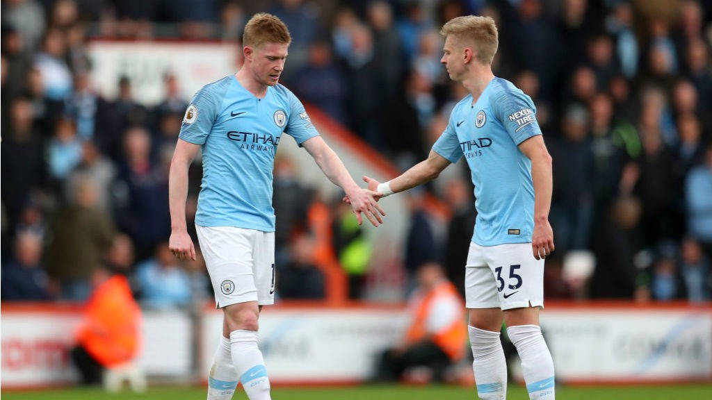 WORRY: There was a blow for City when Kevin De Bruyne was forced off with what looked like a hamstring problem on the stroke of half-time.