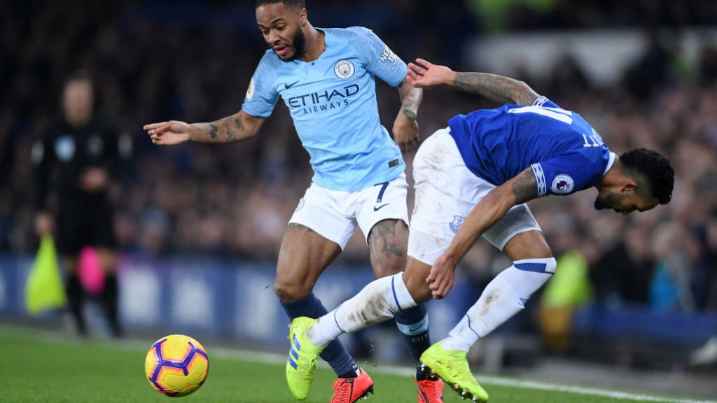 STERLING WING-PLAY: Substitute Raheem Sterling beats his man