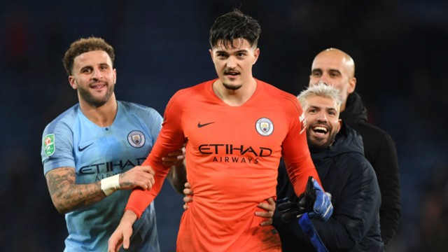 ORANGE CRUSH: Sergio Aguero and Kyle Walker hail  'keeper Aro Muric