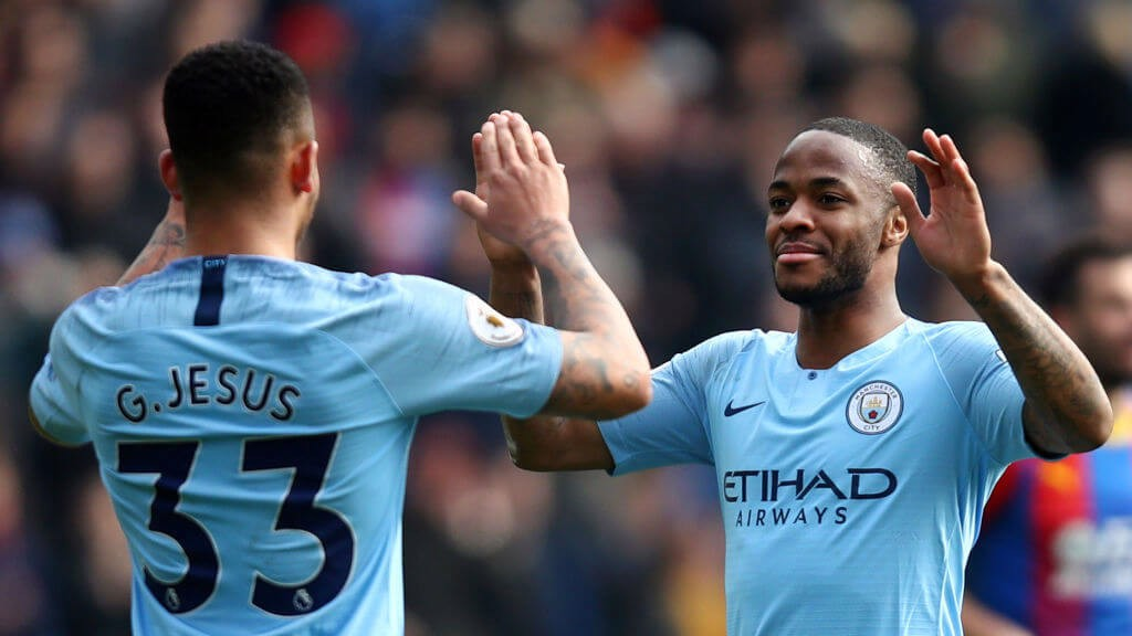 GOALS GALORE: Match Winner Gabriel Jesus celebrates with double goalscorer Raheem Sterling.