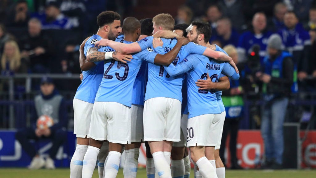 City players celebrate taking the lead through Sergio Aguero!