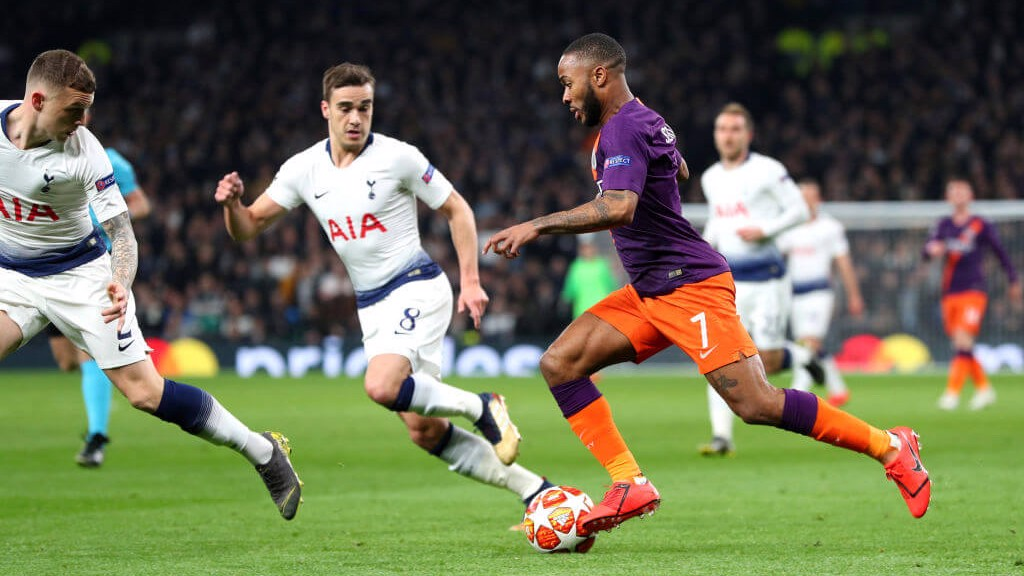 CLUB NIGHT: Raheem Sterling takes on his compatriots Harry Winks and Kieran Trippier