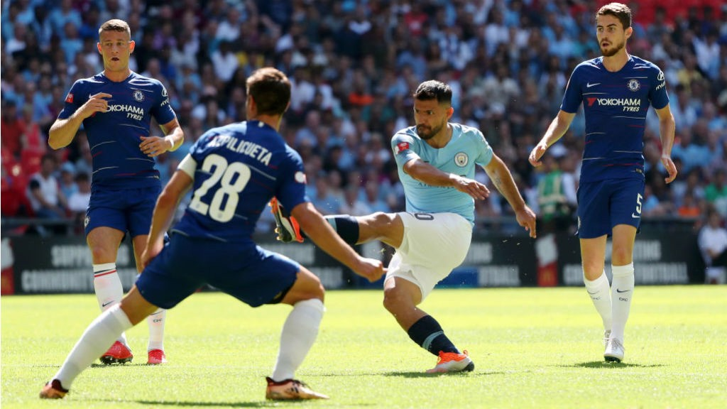 LANDMARK: Sergio Aguero fires home City's opener - and his 200th career goal for the Blues