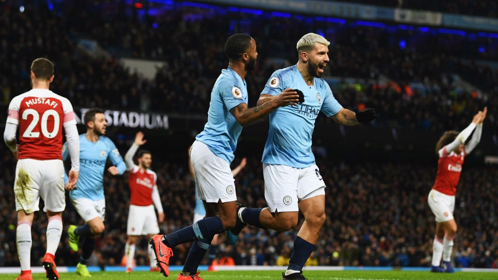 HAT-TRICK HERO: Aguero celebrates his third goal of the game.