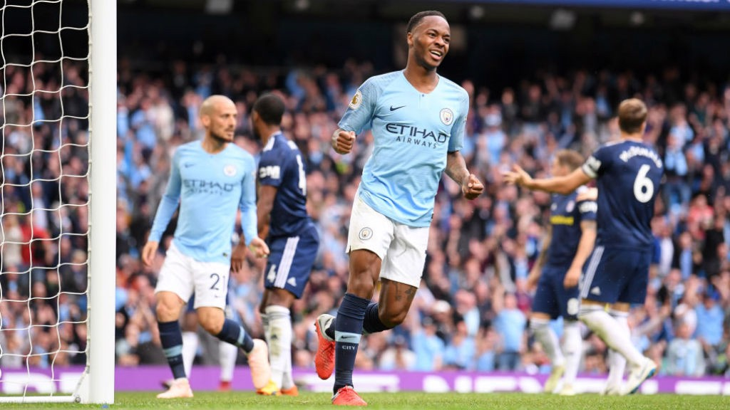 COOL AS YOU LIKE: Sterling is delighted with his goal