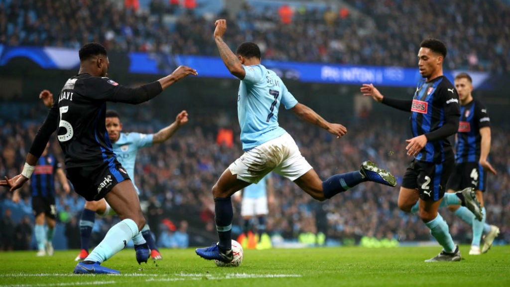 CUP CRACKER: Raheem Sterling fires City into an early lead