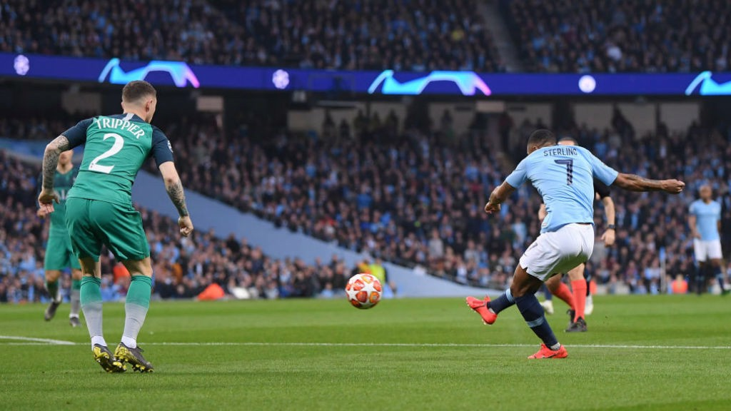 STRIKE ONE: Raheem Sterling opens the scoring with a quite stunning finish