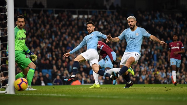CLOSE! David Silva's effort smacks against the post