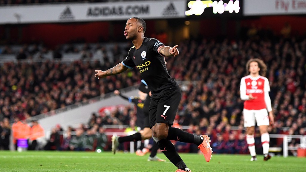 SWEET 16: Raheem Sterling strokes home his 16th of the season to put City 2-0 up