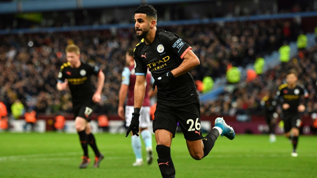 STAR ON SUNDAY: Riyad Mahrez wheels away in delight after his opening goal