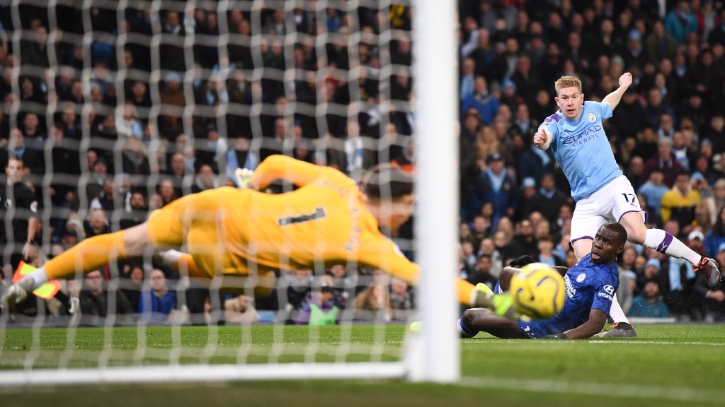 A WHISKER WIDE!: Kevin De Bruyne goes close to breaking the deadlock