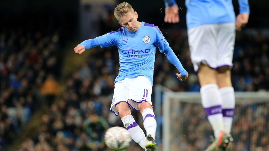 STRIKE ONE: Oleks Zinchenko fires home to open the scoring
