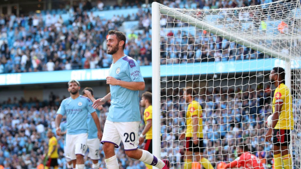 SEVEN UP: Bernardo Silva is all smiles after completing his hat-trick