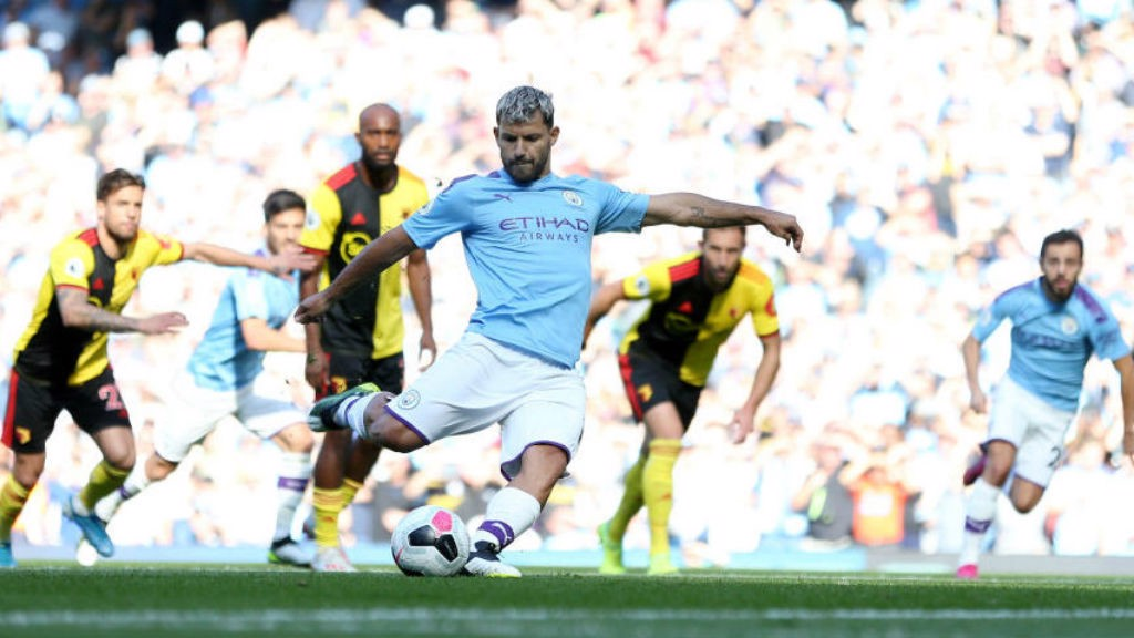 SPECIAL KUN: Sergio converts his penalty to make it 2-0 and chalk up his 100th City career goal at the Etihad