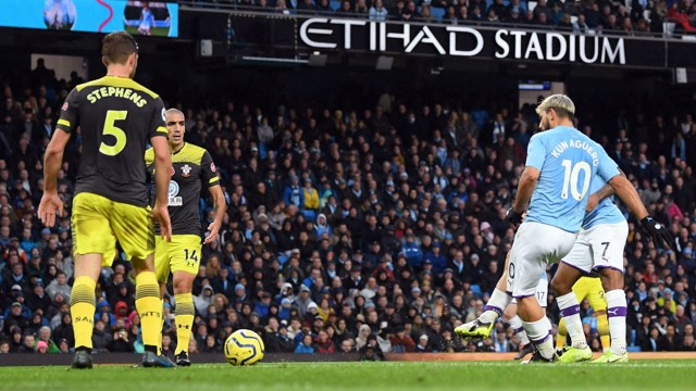 LEVELLER: Aguero finds space in the box and strokes in the equaliser with 20 minutes remaining.