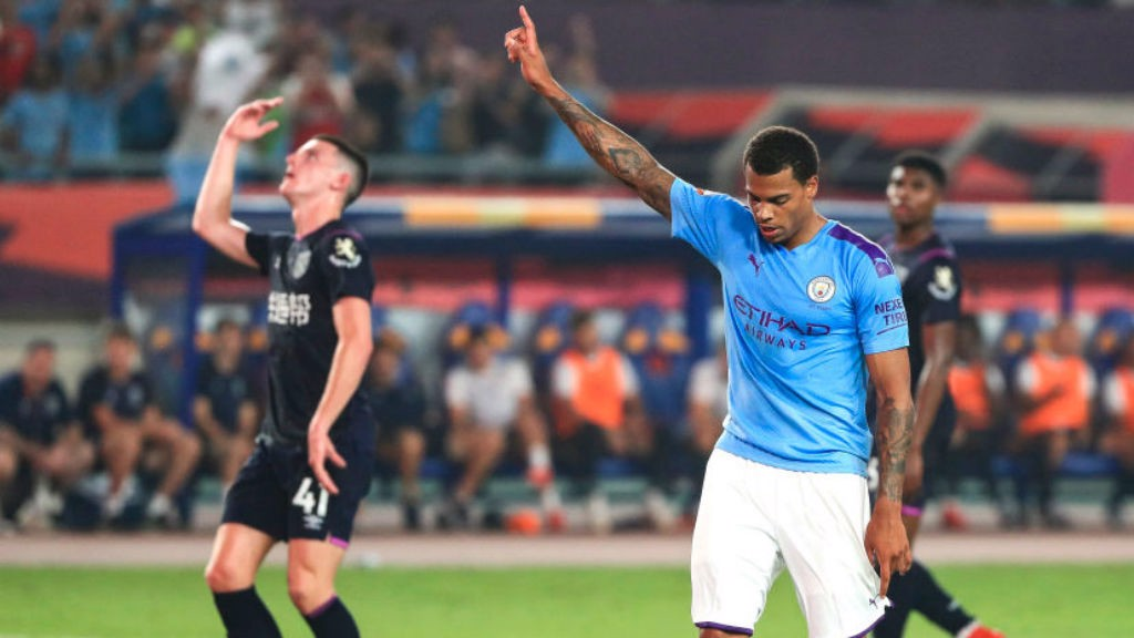 FRONT FOOT: Lukas Nmecha celebrates after his excellent penalty strike