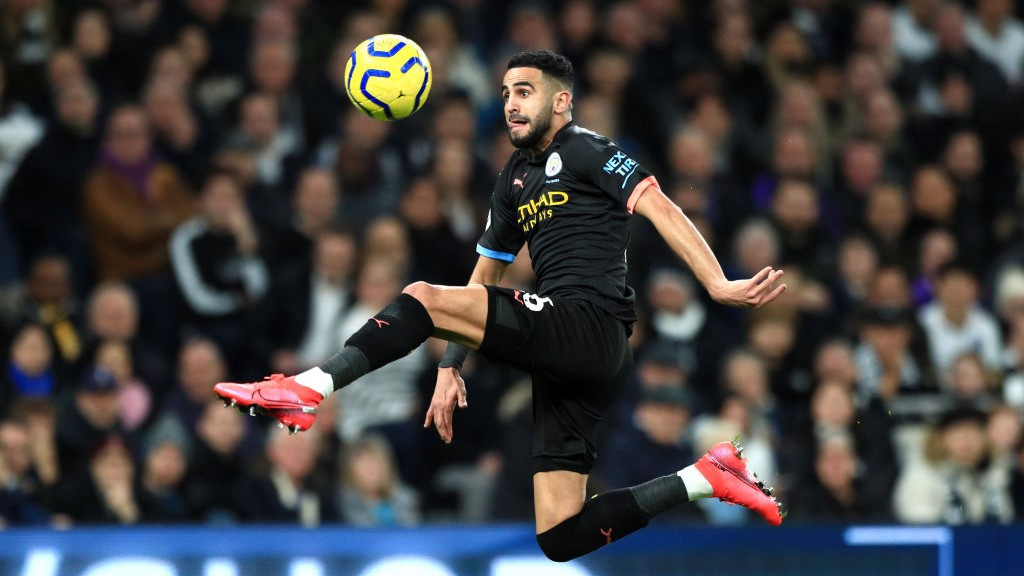 MAH-RISE: Riyad leaps to bring the ball under control spectacularly.