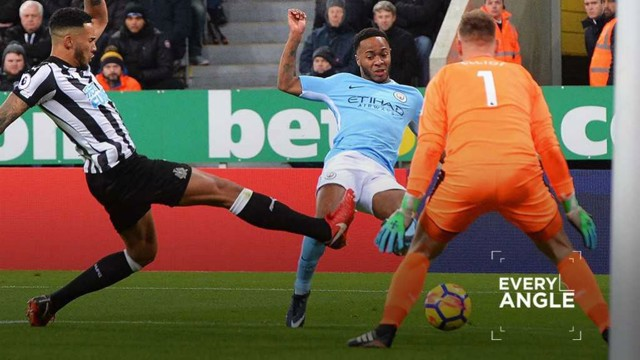 GOLDEN TOUCH: Raheem Sterling fires home City's winner against Newcastle