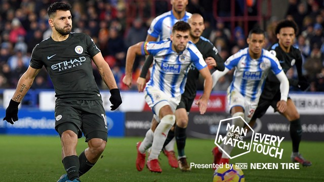 ONE HUNDRED AND EIGHTY: Sergio Aguero netted his 180th City strike against Huddersfield