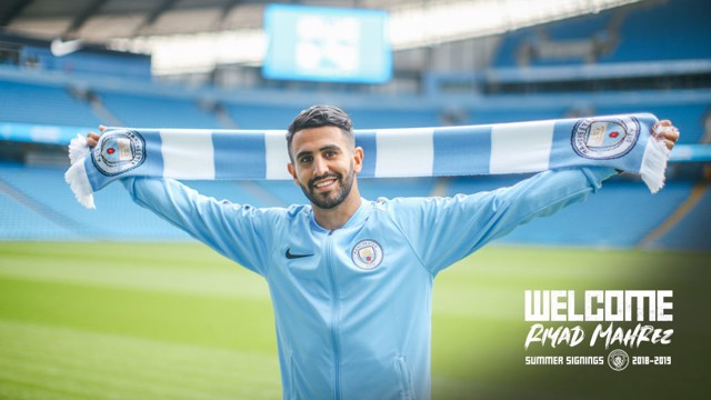 WELCOME RIYAD: Mahrez was unveiled at the Etihad Stadium on Thursday